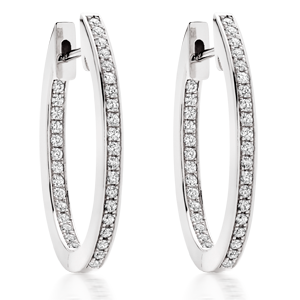 Silver Oval Cubic Zirconia Hoop Earrings