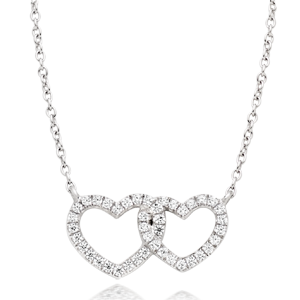 Silver Cubic Zirconia Double Heart Necklace