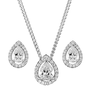 Silver Cubic Zirconia Pear Halo Pendant and Stud Earring Set