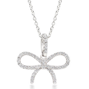 Silver Cubic Zirconia Bow Pendant