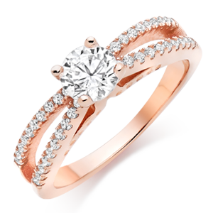 Rose Gold Plated Cubic Zirconia Cocktail Ring