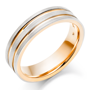 Palladium and 9ct Rose Gold Men's Wedding Ring
