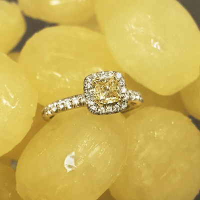 Maple Leaf Diamonds 18ct Gold and White Gold Yellow Diamond Halo Ring