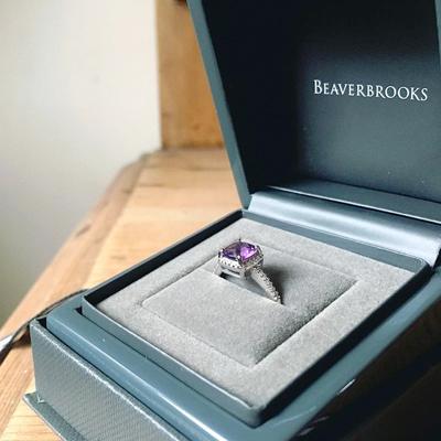 9ct White Gold Amethyst Diamond Halo Ring