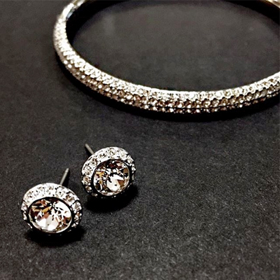 Swarovski Stone Mini Crystal Bangle & Swarovski Angelic Crystal Stud Earrings