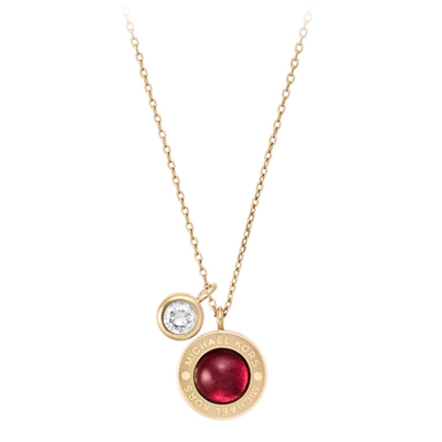 Michael Kors Gold Tone Garnet and Cubic Zirconia Pendant