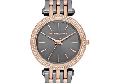 Michael Kors Darci Rose Gold Tone and Stainless Steel Crystal Ladies Watch