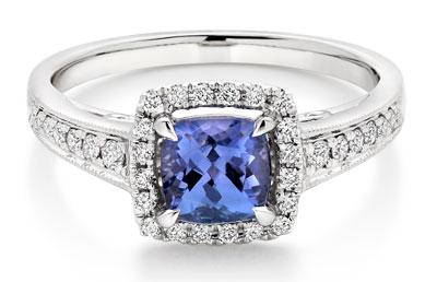 18ct White Gold Tanzanite Diamond Halo Ring