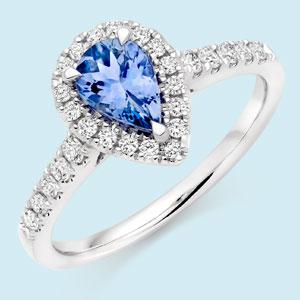 18ct White Gold Diamond Tanzanite Halo Ring