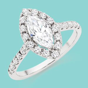 9ct White Gold Cubic Zirconia Marquise Halo Ring