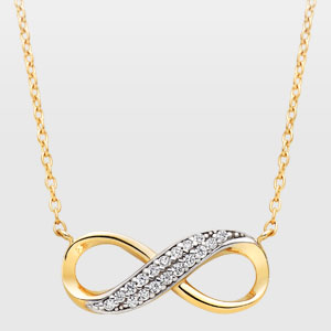 9ct Gold Cubic Zirconia Infinity Necklace