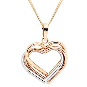 9ct Tri-Tone Gold Heart Pendant