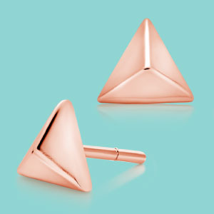 Silver Rose Gold Plated Triangle Stud Earrings