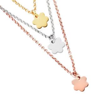 Silver Tri-Colour Flower Necklace