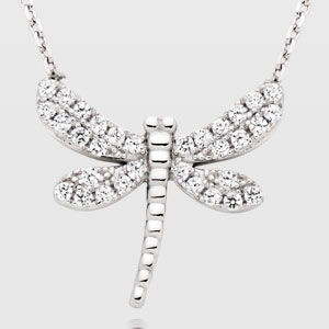 Silver Cubic Zirconia Dragonfly Necklace