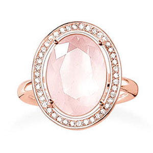 Thomas Sabo Glam and Soul 18ct Rose Gold Plated Cubic Zirconia Rose Quartz Ring
