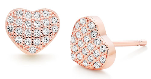 Silver Rose Gold Plated Cubic Zirconia Heart Earrings