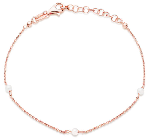 Silver Rose Gold Plated Synthetic Pearl Bracelet