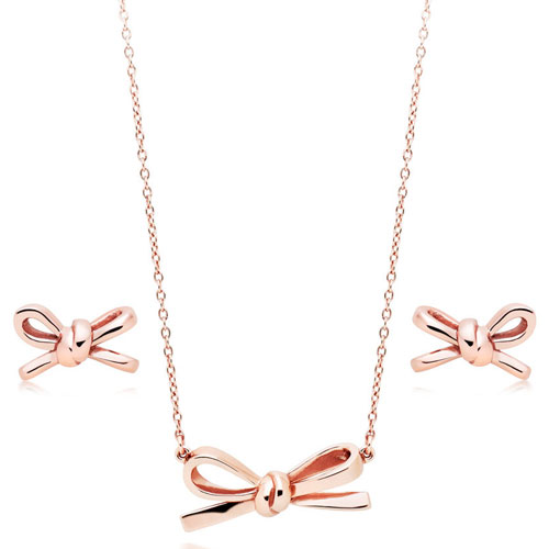 Silver Rose Gold Plated Bow Necklace and Earrings Set