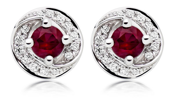9ct White Gold Diamond Ruby Stud Earrings