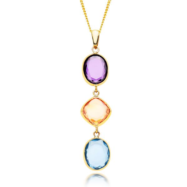 9ct Gold Three-Colour Cubic Zirconia Pendant