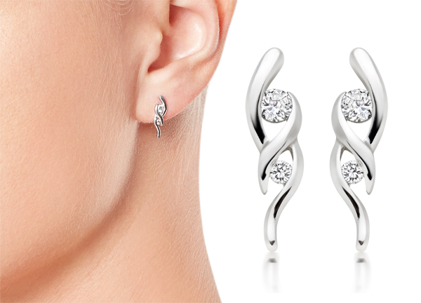 Silver Cubic Zirconia Twirl Drop Earrings