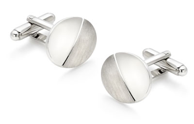Oval brushed and polished cufflinks