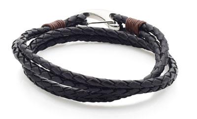 Black and Stainless Steel Plaited Wrap Men's Bracelet