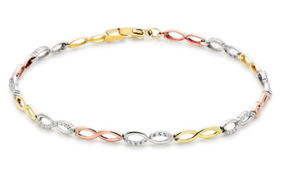 9ct Three Colour Gold Cubic Zirconia Infinity Bracelet