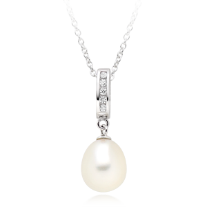 Silver Cubic Zirconia Fresh Water Cultured Pearl Pendant