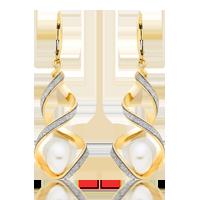 9ct Gold Glitter Twist Fresh Water Cultured Pearl Earrings