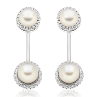 Silver Cubic Zirconia Fresh Water Cultured Pearl Earring Jackets