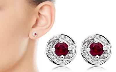 9ct White Gold Diamond Ruby Stud Earrings