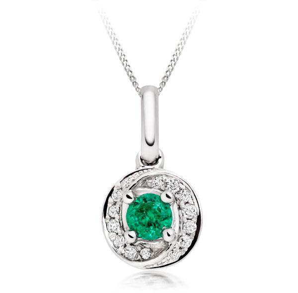 9ct White Gold Diamond Emerald Pendant