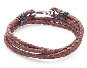 Steel Leather Brown Double Wrap Bracelet