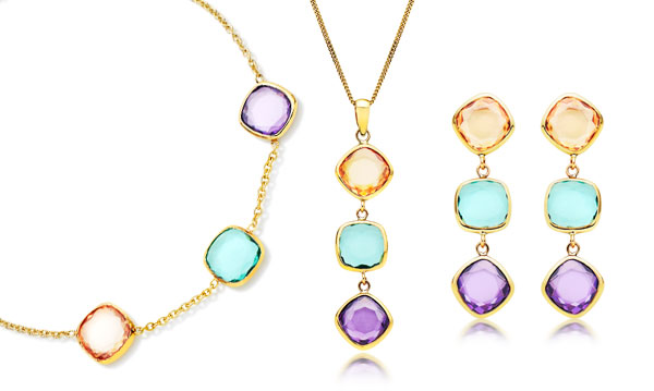 9ct Gold Three-Colour Cubic Zirconia Bracelet, Pendant and Earrings