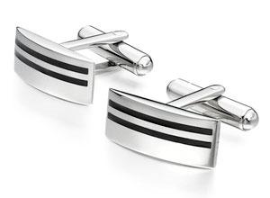 Stainless Steel Black Stripe Cufflinks