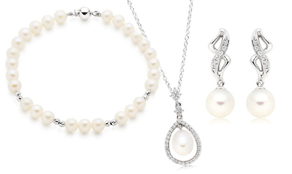 Silver Cubic Zirconia And Pearl Pendant. 9ct White Gold And Pearl Earrings And Bracelet