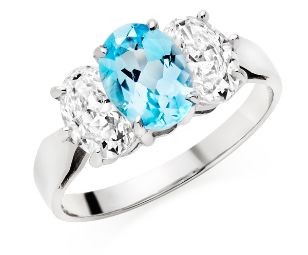 9ct White Gold Blue Topaz and Cubic Zirconia Three Stone Ring