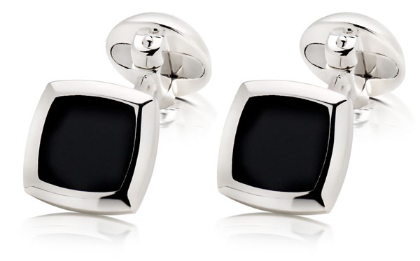Silver and Black Agate Square Cufflinks