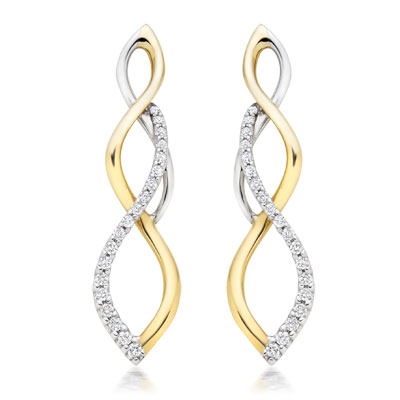 Beaverbrooks Era Infinite 9ct Gold and White Gold Diamond Drop Earrings