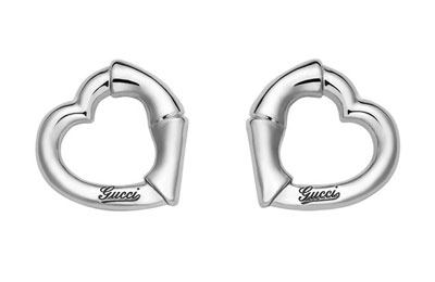 Gucci Bamboo Silver Heart Earrings