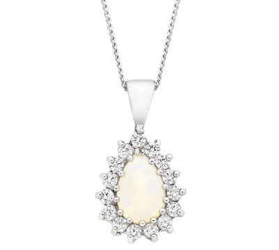 9ct White Gold Opal Cubic Zirconia Pendant