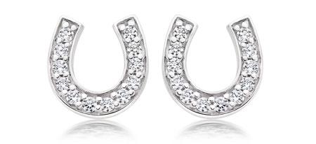 Silver Cubic Zirconia Horseshoe Stud Earrings