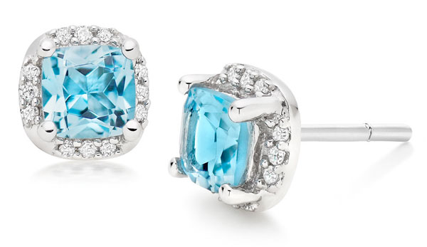 9ct White Gold Blue Topaz Diamond Stud Earrings
