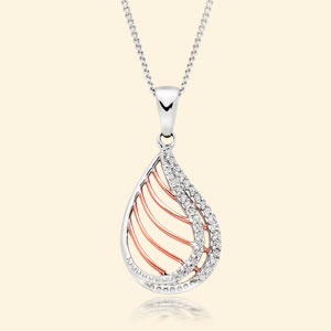 9ct Bi-Colour Gold Diamond Pendant