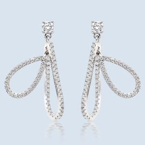 Silver Cubic Zirconia Double Loop Drop Earrings