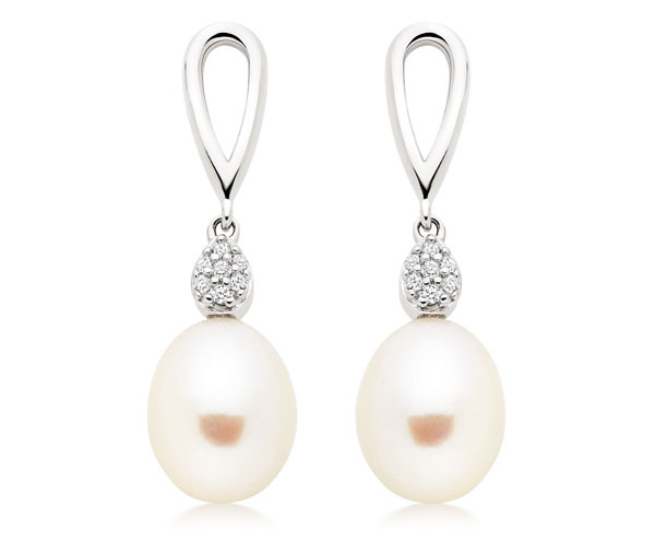 Silver Fresh Water Pearl Cubic Zirconia Drop Earrings