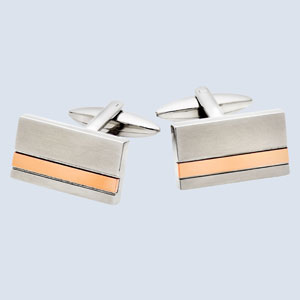 Stainless Steel Rose Gold Plated Stripe Cufflinks