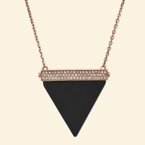 Michael Kors Rose Tone Cubic Zirconia Necklace